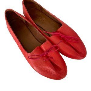 Miz Mooz Red Leather Lace Up Flat Shoes 41